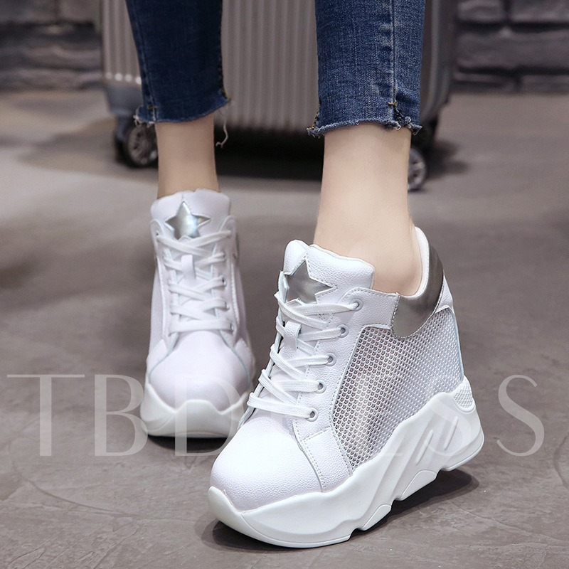 Buy Hollow Platform Round Toe Strars Patchwork Summer Women's Sneaker, Spring,Summer,Fall, 13307726 for $34.57 in TBDress store