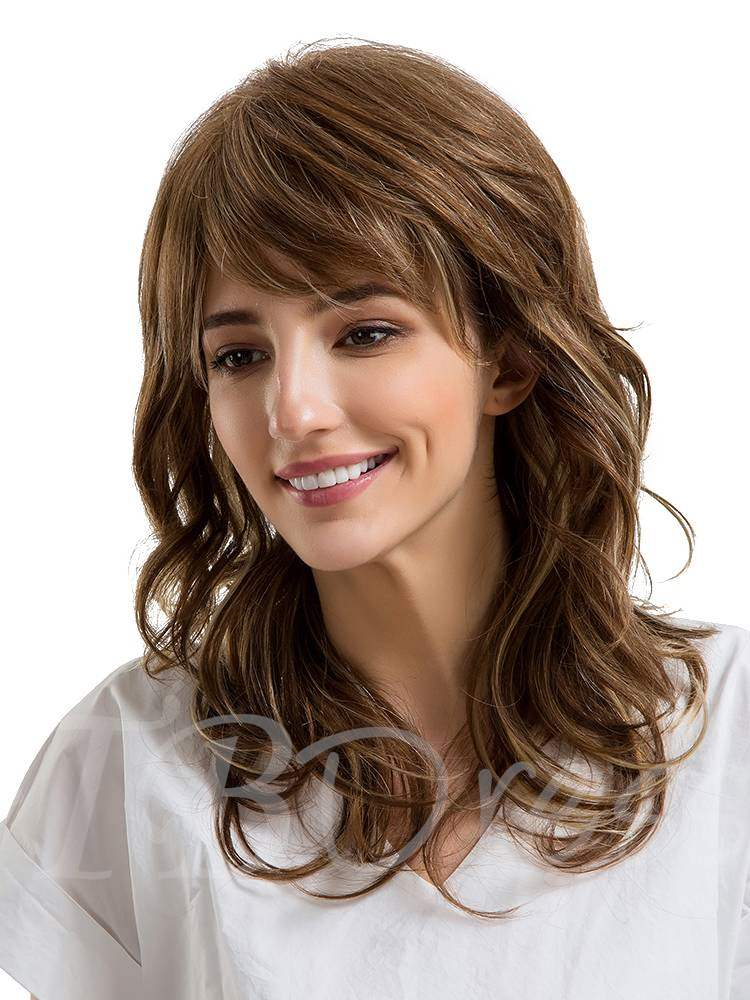 Mid-Length Messy Style Human Hair Women Capless Wig