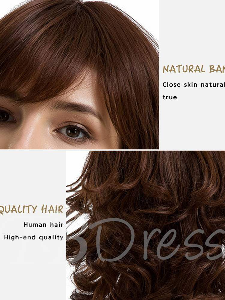 Middle Length Loose Wave Human Hair With Bang Women Capless Wig 14 Inches