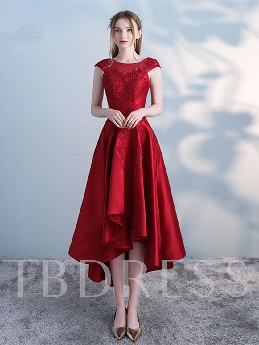 f3b43db6be3 A-Line Appliques Scoop High Low Prom Dress - Tbdress.com