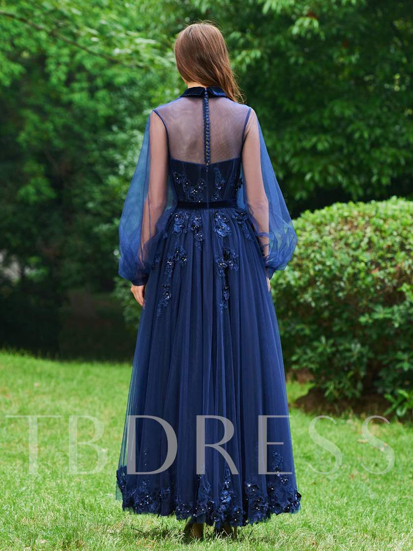 Lapel Button Appliques Long Sleeves Evening Dress