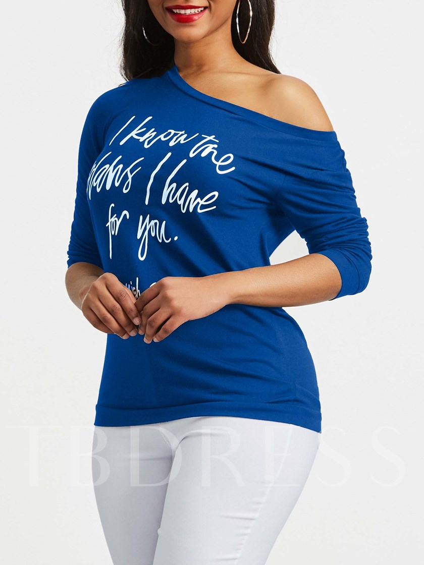 One Shoulder Off Casual Letter Print Women's T-Shirt