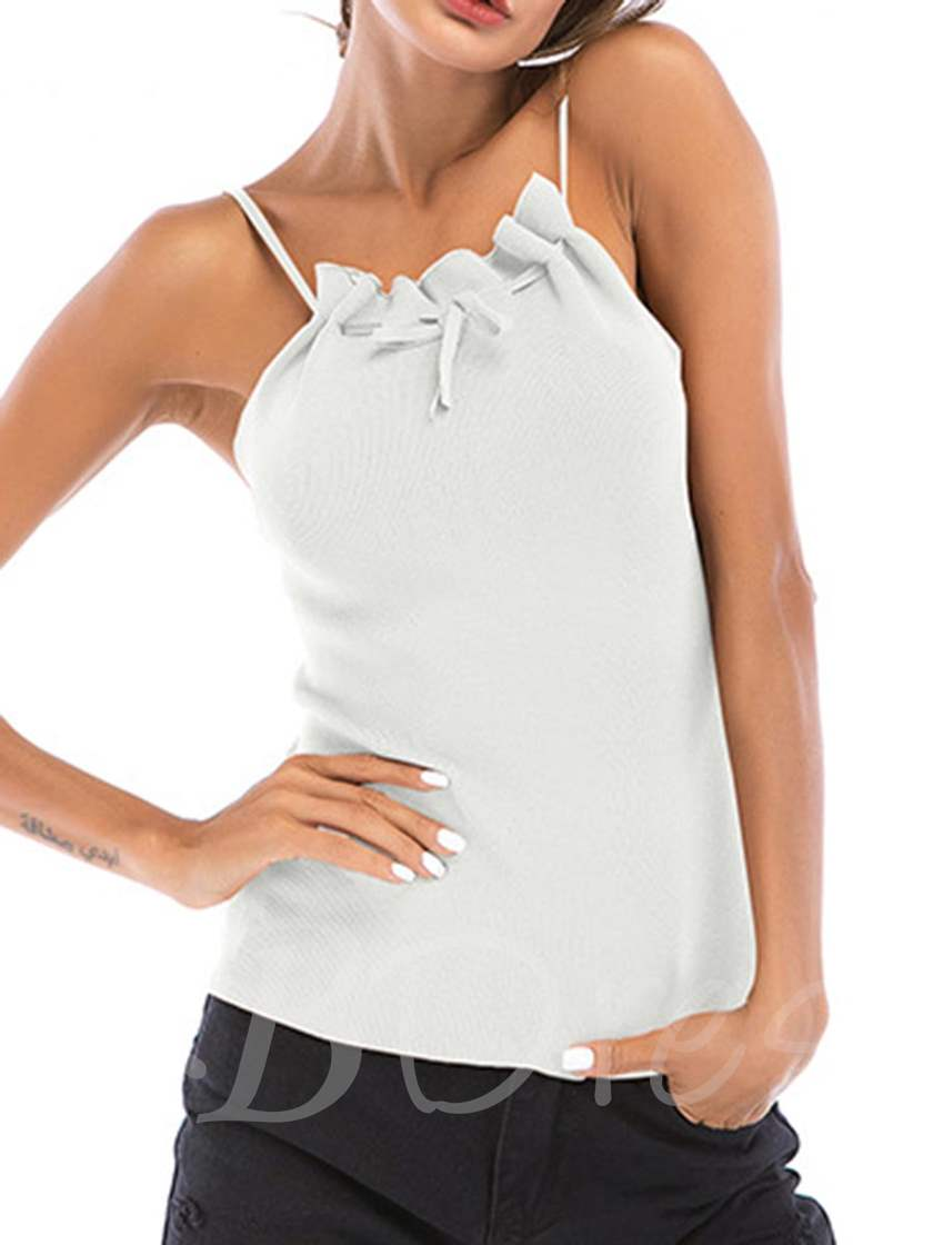 Simple Halterneck Pleated Ruched Women's Tank Top