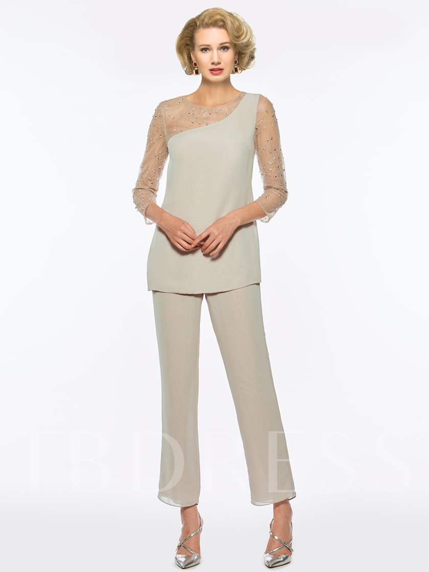 Lace 2 Pieces Beading Mother Of The Bride Pantsuits