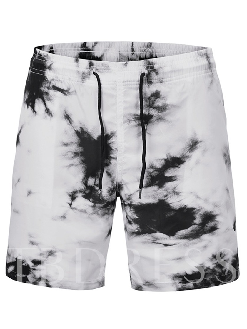 Tie-Dye European Color Block Straight Mid Waist Men's Beach Shorts