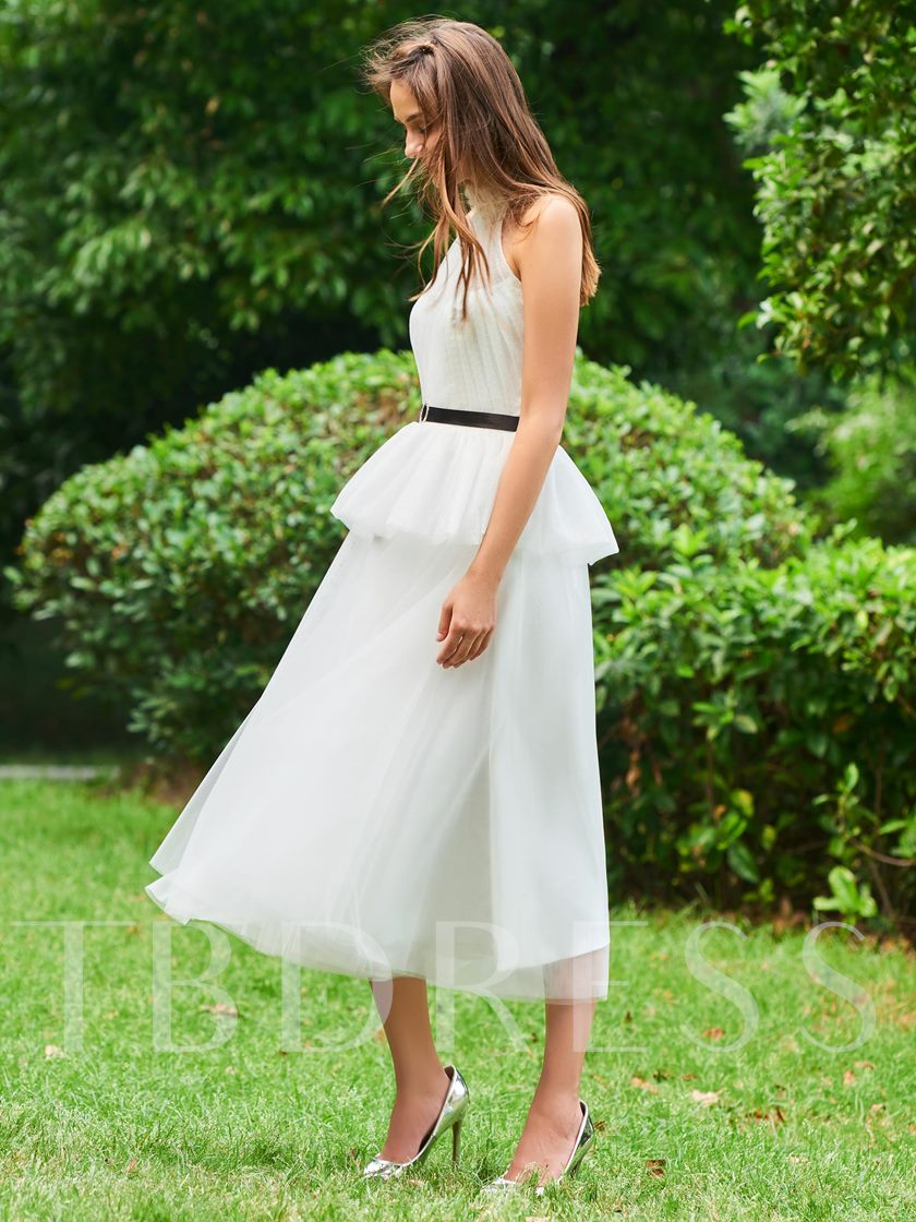 A-Line Button Sashes High Neck Cocktail Dress