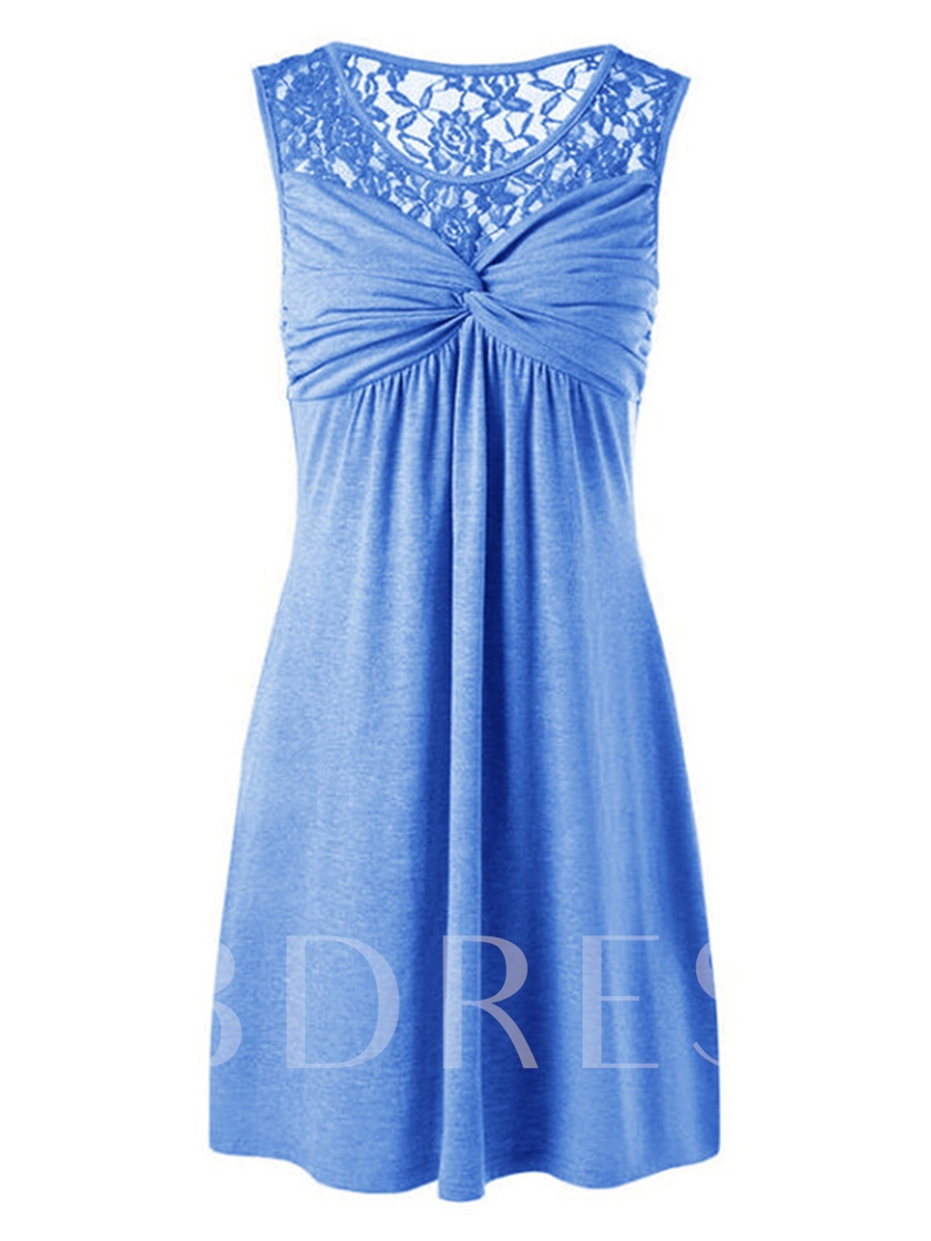 Ruffled Lace Patchwork Women's Day Dress