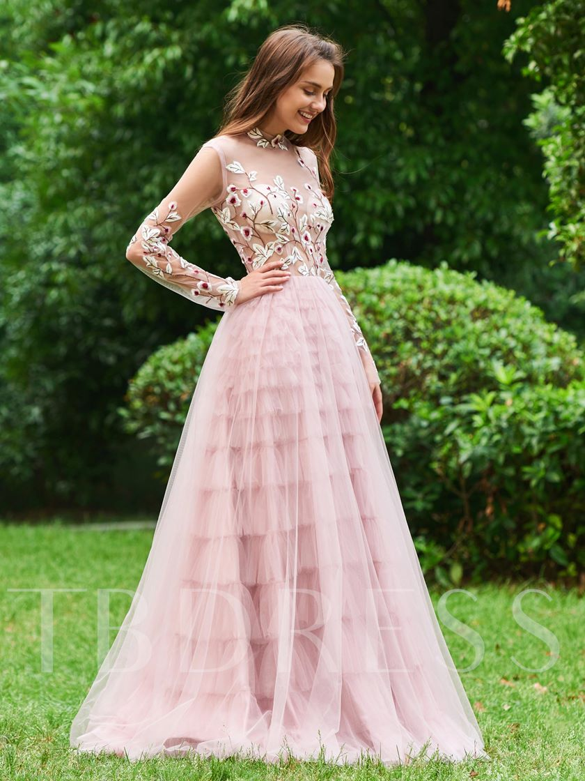 High Neck Button Tiered Long Sleeves Prom Dress