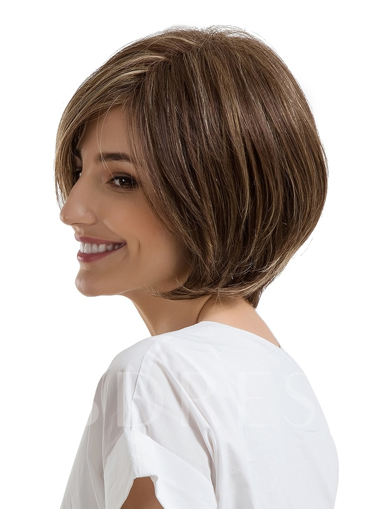 Bob Hairstyle Mix Color Human Hair Women Capless Wig 10 Inches