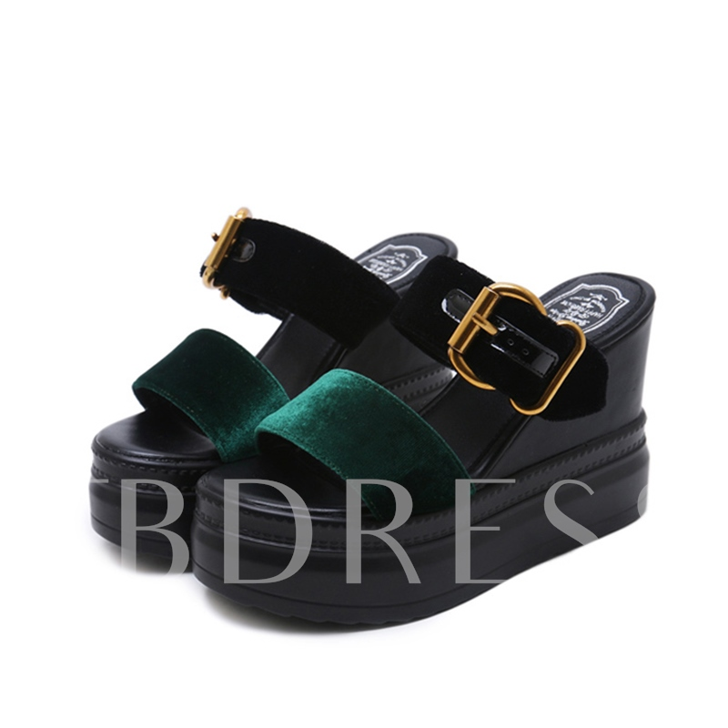 Buy Wedge Heel Suede Summer Color Block Flip Flop for Women, Spring,Summer, 13307689 for $41.25 in TBDress store