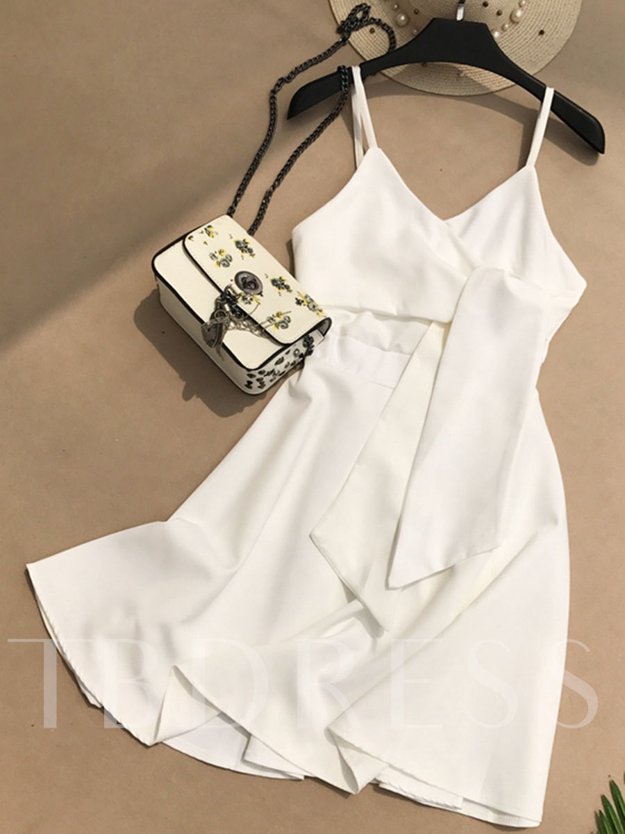Buy Solid Color Strappy Women's Day Dress, Summer, 13315177 for $18.01 in TBDress store