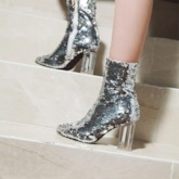 Side Zipper Pointed Toe Sequin Chunky Heel Glitter Women's Ankle Boots