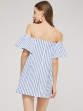 Off Shoulder Stripe Button Women's Day Dress