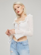 Hollow Frilled Flare Sleeve Women's Cropped Blouse