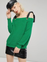 Off Shoulder Lace Up Long Sleeve Women's Sweater