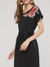 Bowknot Appliques Asymmetric Women's Day Dress