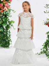 Cap Sleeve Tiered Appliques Flower Girl Dress