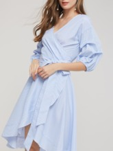 Half Sleeves Bowknot Lace Up Women's Day Dress