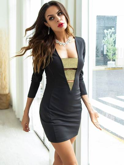 Image of 3/4 Length Sleeves Hollow Womens Bodycon Dress