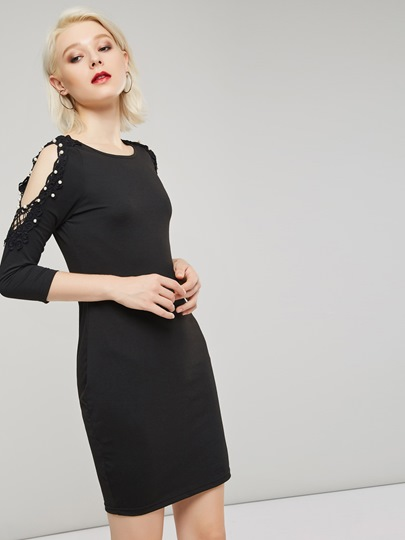 Image of Hollow Bead 3/4 Length Sleeves Womens Day Dress