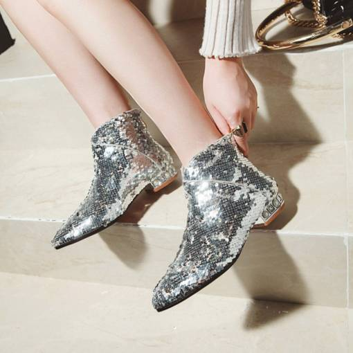 Back Zip Pointed Toe Block Heel Sequin Glitter Women's Ankle Boots