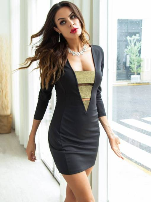 3/4 Length Sleeves Hollow Women's Bodycon Dress