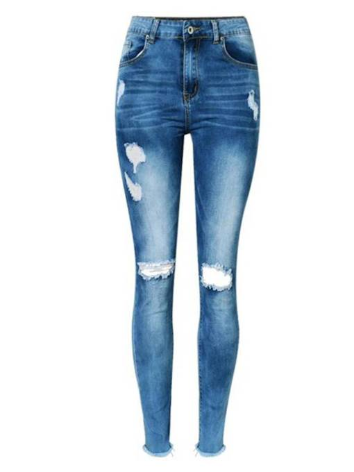 Knee Hole High Waist Destroyed Women's Jeans