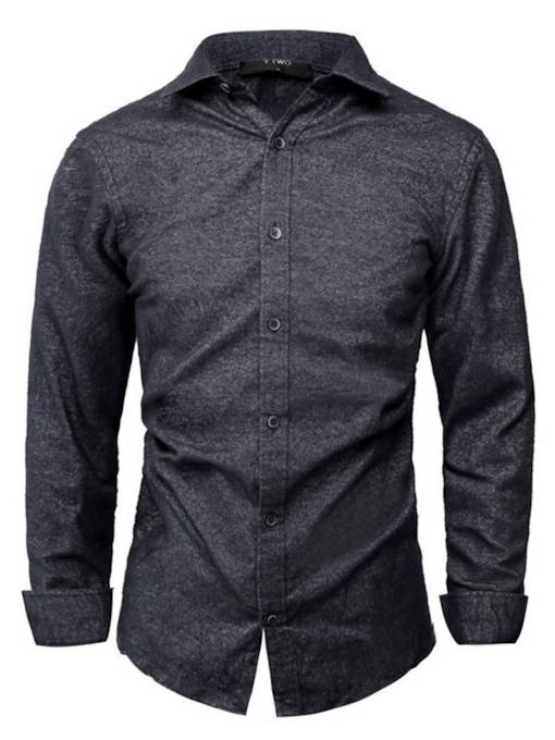 Casual Style Lapel Slim Plain Men's Shirt