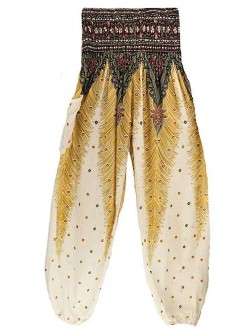 Ethnic Color Block Print Loose Women's Casual Pants
