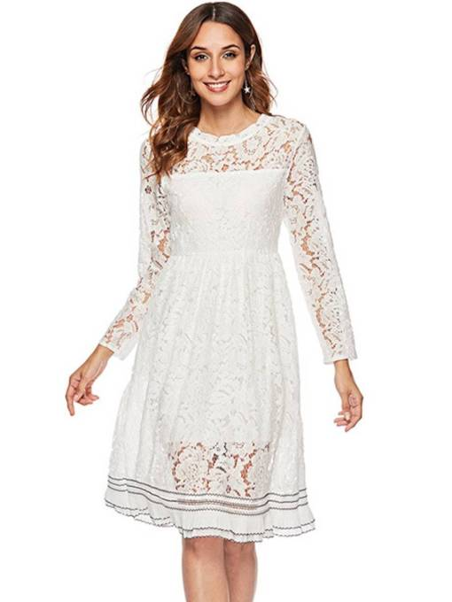 Long Sleeves A-Line Women's Lace Dress