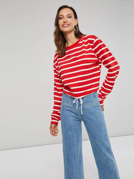 Loose Fit Stripe Round Neck Long Sleeve Women's T-Shirt