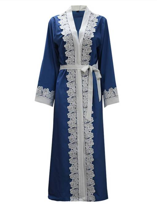 Lace Patchwork Long Length Women's Trench Coat