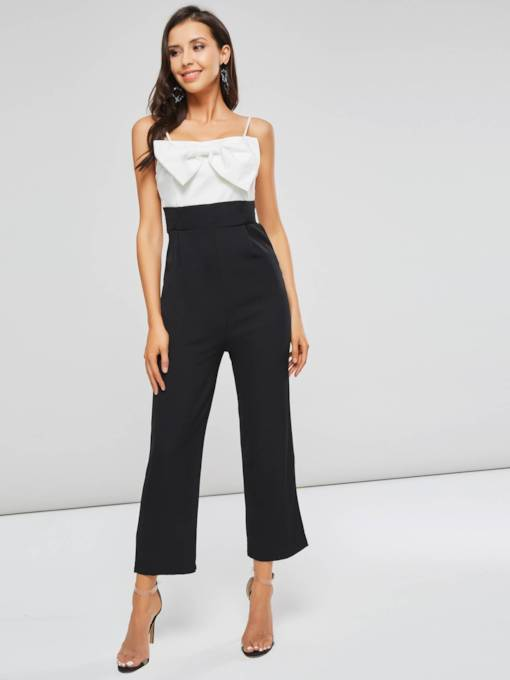 Color Block Bowknot Front Strap Women's Jumpsuit