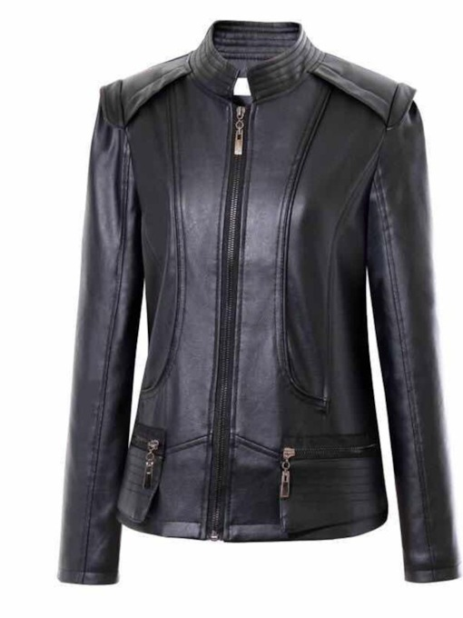 Zipper Up Stand Collar Double-Pocket Women's PU Jacket