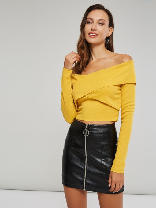 Wrap Design Solid Color Women's Cropped Sweater