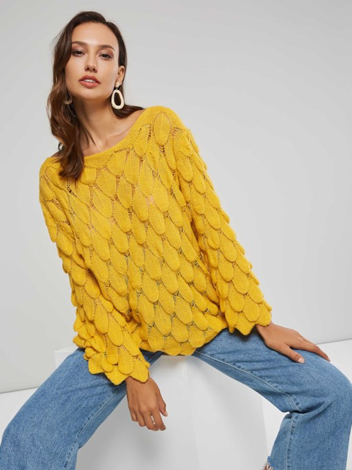Solid Color Loose Fit Scoop Neck Women's Sweater