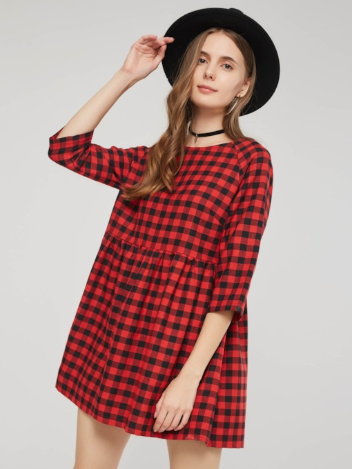 Pullover Half Sleeve Round Neck Plaid Women's Day Dress