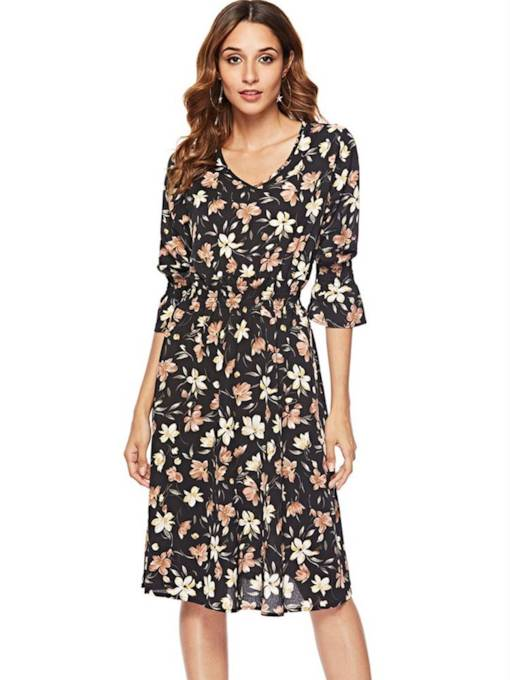 3/4 Length Sleeves Floral V-Neck Women's Day Dress