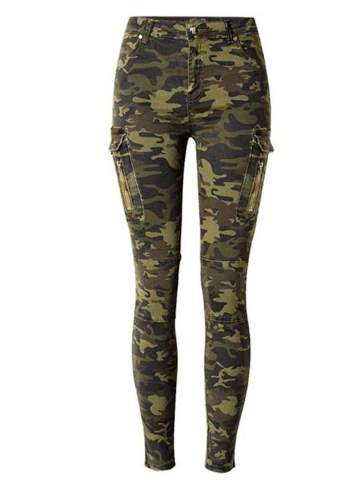 Camo Print Pockcet Zipper Casual Women's Jeans