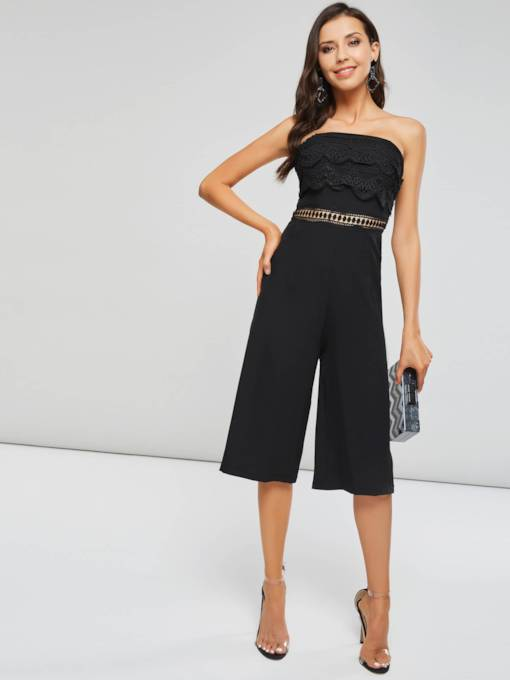 Lace Patchwork Slash Neck Women's Jumpsuit