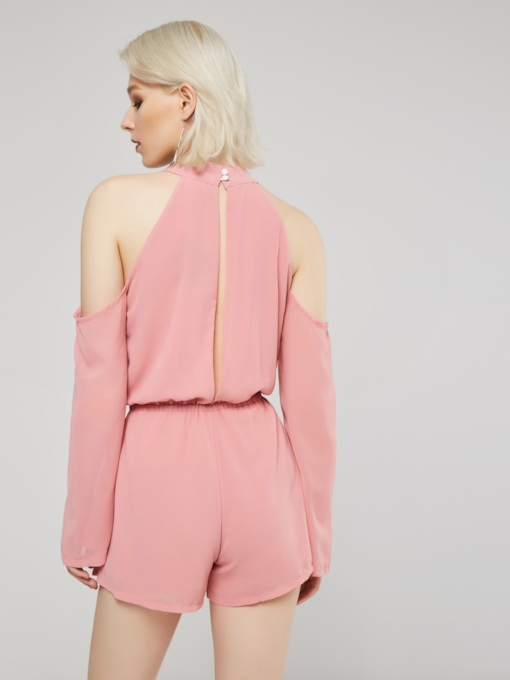 Plain Hollow Short Women's Romper
