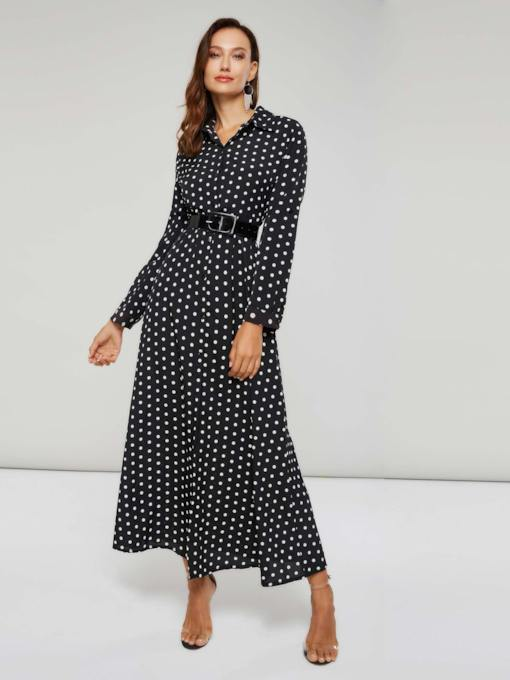 Long Sleeves Polka Dots Women's Maxi Dress