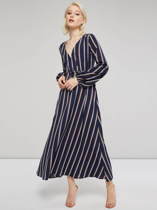 V-Neck Long Sleeves Stripe Women's Maxi Dress