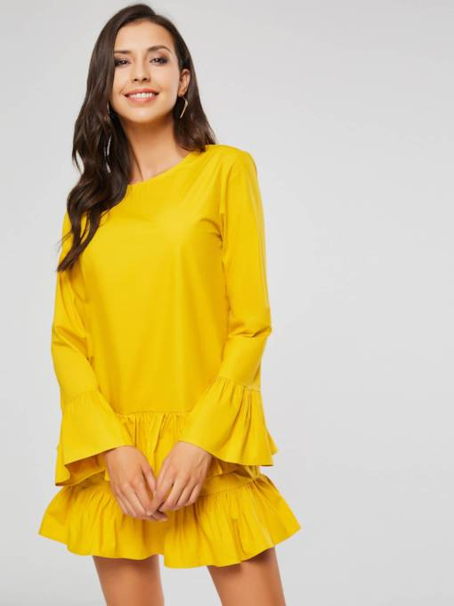 Yellow Long Sleeves Falbala Women's Layered Dress