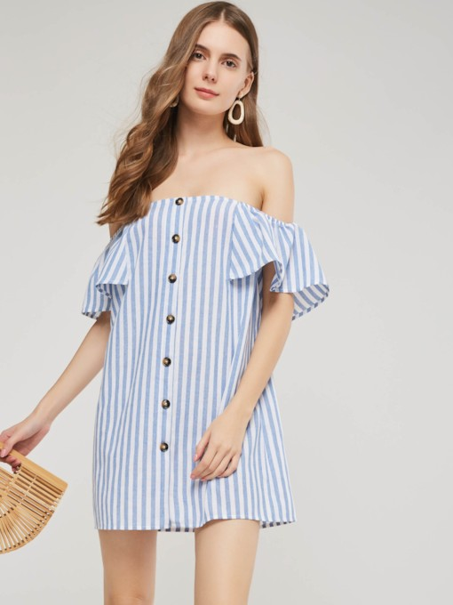 Off-Shoulder-Streifen Button Damen Tageskleid