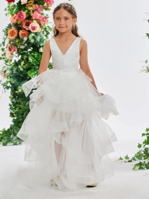 V-Neck Sequins Ball Gown Flower Girl Dress