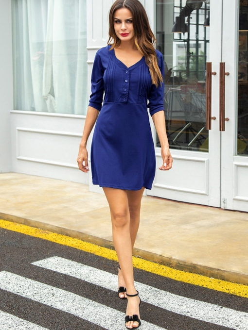 3/4 Length Sleeves V-Neck Women's Day Dress