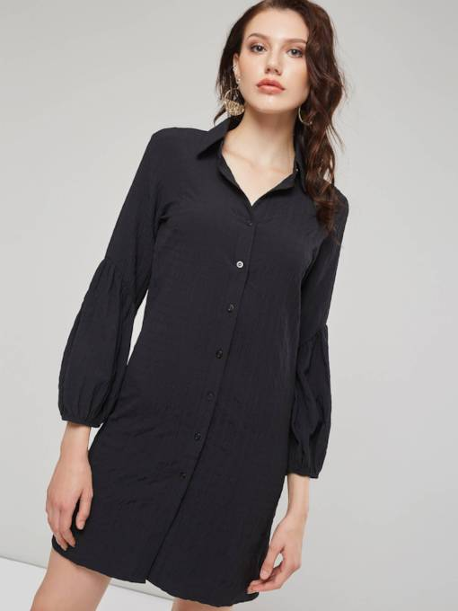 Lapel Single-Breasted Women's Long Sleeve Dress