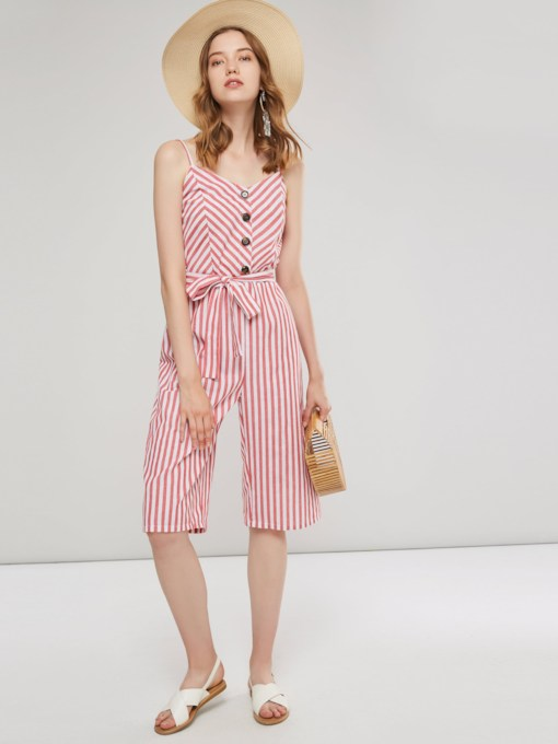 Stripe Lace-Up Casual Mid-Calf Slim Wide Legs Women's Jumpsuit