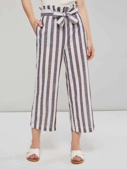 Stripe Color Block Lace-Up Women's Casual Pants